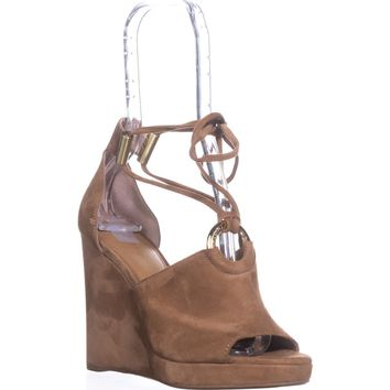 Calvin Klein Ramona T-Strap Wedge Sandals, New Caramel, 7.5 US / 37.5 EU
