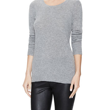 Qi Cashmere Women's Side Zip Cashmere Tunic Sweater - Medium Grey -
