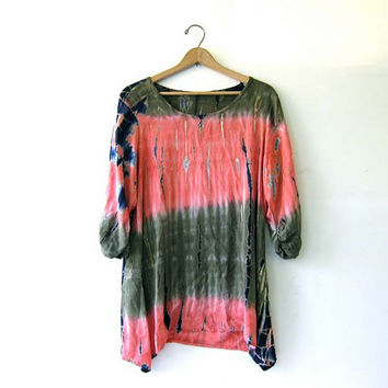 Vintage Loose Fit Blouse Shirt Batik Tie Dye Top Tunic Dress Boho Hippie Gypsy Rayon Slouchy Shirt.