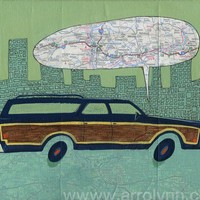 Station wagon original road map painting