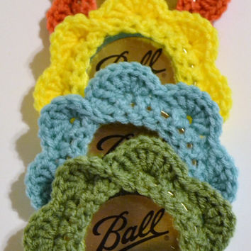 Crochet Coaster Set of 4 Canning Jar Lid Mason Jar Yellow Aqua Green Coral Upcycle Recycle Littlestsister