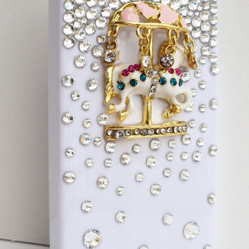 Carousel 3D iPhone 4/4S Case With Colorful and Clear Rhinestones