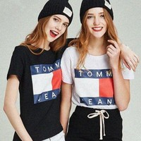 Tommy Hilfiger Tommy men and women classic tee shirt T-shirt