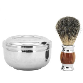 100% Pure Badger Hair Shaving Brush, Soap & Soap Bowl