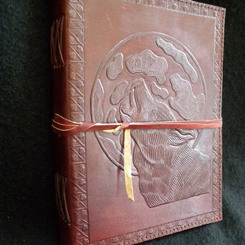 WOLF Handmade A5 Leather Journal Diary - Pagan Wicca Book of Shadows - Freepost UK