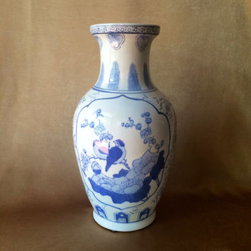 Chinoiserie Vase, Blue and White, Asian Style Design, Birds and Floral, Lotus Branch, Tall Elegant Vase, Bird Chinoiserie Shabby Style Decor
