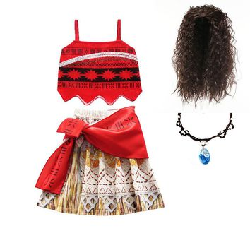 Christmas Moana vaiana Dress for Girls Adventure Outfit Girls Princess Dresses Kids Party Cosplay Costumes Children Clothing Wig