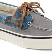Sperry Top-Sider Bahama Leather & Canvas 2-Eye Boat Shoe Gray/BlueCanvas, Size 7.5M  Men's Shoes
