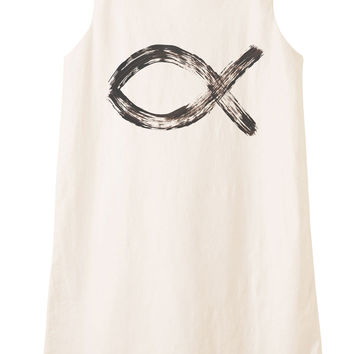 Christian religion symbol Printed Vintage Linen Mini Shift Dress WDS_01