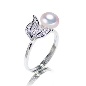Pearl 7-8 mm rings 925 sterling silver jewelry