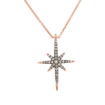 0.24ct 14k Rose Gold White & Champagne Diamond North Star Necklace