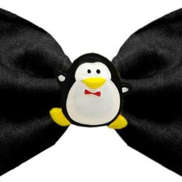 Penguin Chipper Black Pet Bow Tie