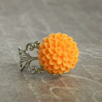 Autumn Orange Mum Ring FREE SHIPPING by CreativeKates on Etsy