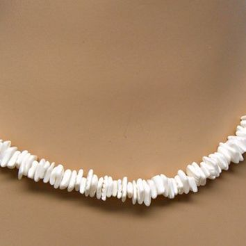 "Puka Shell White Square Cut Chip Necklace  16"" 18"" 20"" 24"" Lengths Hawaiian Surfer SUP 7065"