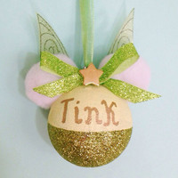 Handmade Tinkerbell Minnie Mouse Inspired Handmade Ornament - Personalized - 60mm shatterproof bulb