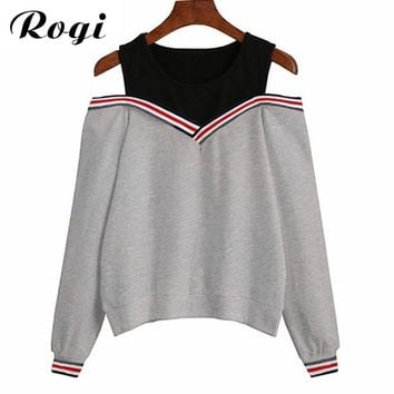 Rogi Female Jumper Sweatshirt 2018 Off Shoulder Patchwork Hoodies Top Autumn Winter Crew Neck Pullovers Tracksuit Ladies Tops