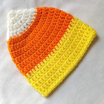 Free U.S. Shipping - Crocheted Baby Candy Corn Hat