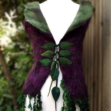 Fairytale Forest Vest medium to large - Faerie Costume 34 to 38 inches - Pixie coat - Felt Coat