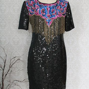 Vintage 1980s Silk Sequin + Fringe Party Dress