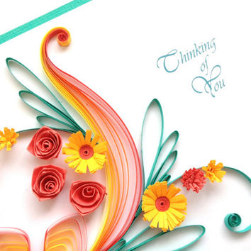 Thinking of you Card.  Large handmade quilled card. Can be personalised or for birthday, wedding, congratulations