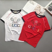 """""""Gucci"""" Women Casual Retro Badminton Racket Letter Embroidery Short Sleeve T-shirt Top Tee"""