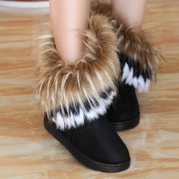 Furry Soft Comfortable Womens Warm Winter Snow Boots Shoes