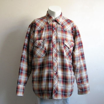 Vintage MWG 70s Plaid Jacket 1970s Brown Red Plaid Quilt Lined Shirt Jacket Large