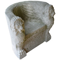Roman Carved Stone Throne Chair