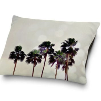 Palm Tree Family - Pet Bed, Light Gray Beach Palm Trees Pet Decor, Tropical Style Coral Fleece Pet Bedding Accessory. In 18x28 30x4 40x50
