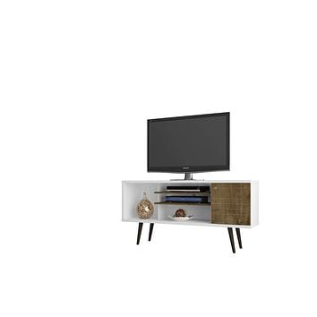 "Liberty 53.14"" Mid Century - Modern TV Stand w/ 5 Shelves & 1 Door w/ Solid Wood Legs-White, Rustic Brown"