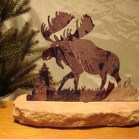 Rustic Metal Moose Scene with Sandstone Base