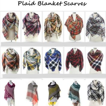 ONETOW Womens Blanket Scarf Cashmere Winter Plaid Scarfs Warm Women Hijab Wool Tantan Women's Bandana Shawls Stoles Ponchos and Capes