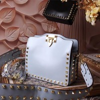 VALENTINO WOMEN'S 2018 NEW STYLE LEATHER INCLINED SHOULDER BAG