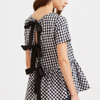 Black And White Checkered Bow Split Back Peplum Top -SheIn(Sheinside)