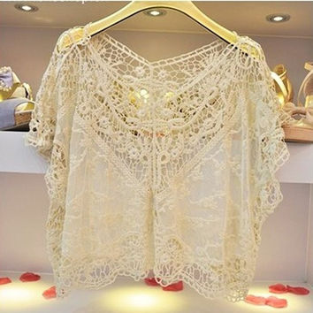 Women's Casual Sweet Lace Flower Batwing Halter Tops Soft Loose Blouses = 1946116868