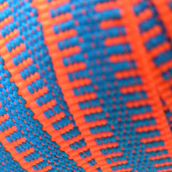 Braid Ribbon, Zipper Design Trimming, Neon Orange with Bright Blue Center. A lovely ribbon trim for many uses, clothing or home decor.