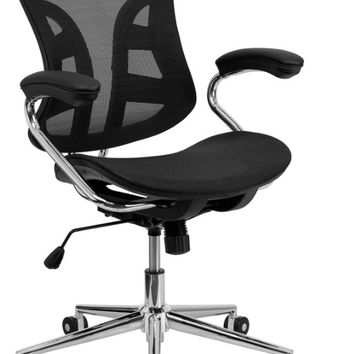 Mid-Back Black Mesh Swivel Task Chair with Chrome Base and Padded Arms