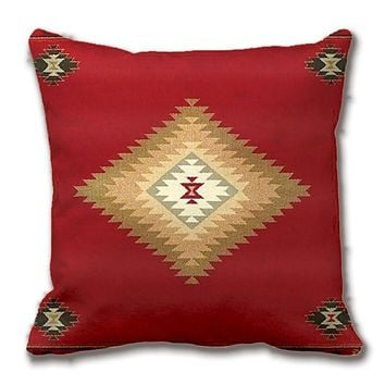 Southwest,Western Tribal Red Fabric Print Throw Pillow Case Decorative Cushion Cover Pillowcase