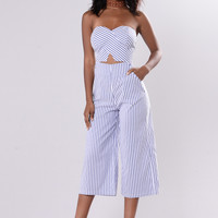 Stripe Type Jumpsuit - Denim