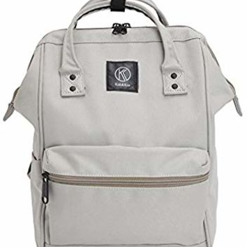 Kah&Kee Polyester Backpack with Laptop Compartment Waterproof Anti-Theft Travel School for Women Man (Light Gray, Small)