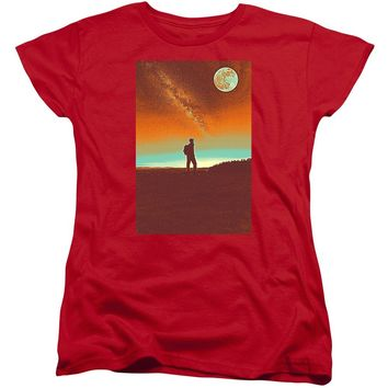 The Milky Way, The Blood Moon And The Explorer Poster By Adam Asar 4 - Women's T-Shirt (Standard Fit)