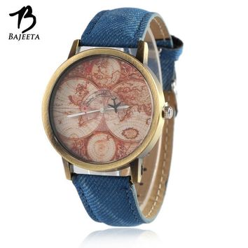 Women Casual Leather Map of The World And Aircraft Wrist Watch