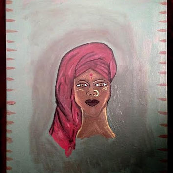 Ancient African Painting- Acrylic Spiritual Art- Titled Wisdom