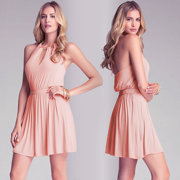 Pink Halter Gold Chain Harness Cutout Skater Dress