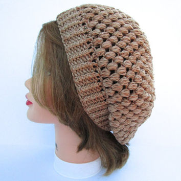 Crochet Tam - Women's Hat - Slouchy Beanie In Toasted Pecan - Cotton Bamboo Hat - Puff Stitch Beret - Crochet Accessories