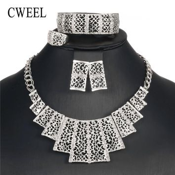 CWEEL Jewelry Sets Women Wedding Luxury Imitation Crystal Vintage Egyptian Costume Bridal Cheap African Beads Jewelry Set