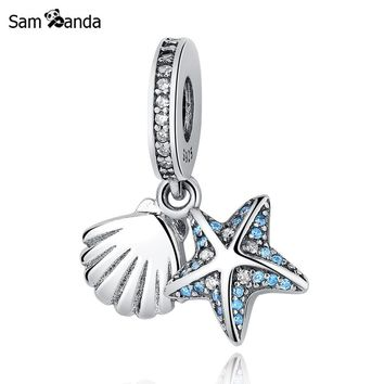 Authentic 925 Sterling Silver Beads Starfish & Shell with Crystal Pendant Charms Fit P