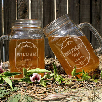 Barn Wedding Favors, Personalized Mason Jar Mugs, Parting Gifts, Rustic Favors, Spring Wedding, Farm Wedding Decor
