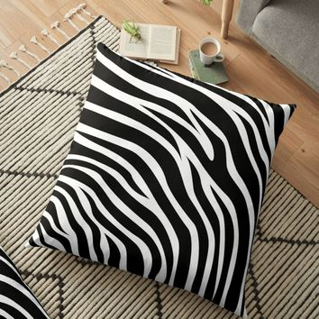 'Animal Print Pattern – Zebra' Floor Pillow by poisondesign