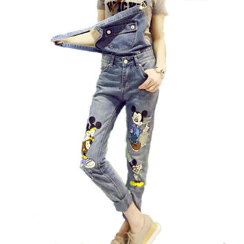 New Fashion women 's cute charm cartoon mouse printed denim jumpsuit blue jeans rompers casual ripped  hole overalls denim pants